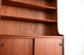 北欧家具 本棚 ブックシェルフ 飾り棚 北欧デンマーク家具 ビンテージ アンティーク家具 チーク材 スライド扉